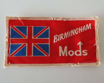 Vintage 1980's Birmingham Mods Fabric Sew On Patch Mods Scooter Vespa