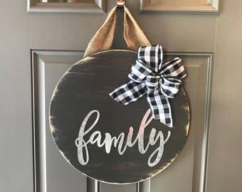 Family Door Hanger, Wood Door Sign, Front Door Decor, Anniversary Gift, All Year Door Hanger, Rustic Wall Decor, Wood Round Sign, Wreath