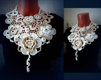 Personalization necklace Crochet lace Collar & cuffs Flowers Necklace Cream Wedding Jewelry gift Bohemian Bib Necklace antique Choker collar