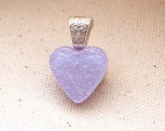 Light Purple Tiny Heart, Dichroic Glass Pendant, Small Violet Heart, Lilac Pendant, Dichroic Jewelry, Romantic Gift