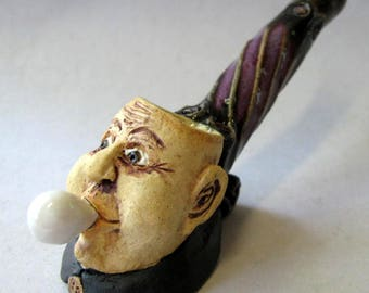Uncle Fester w/Light Bulb (Addams Family) Tobacco Pipe - Handmade Studio Pottery