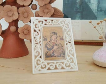 Byzantine Mother Mary - Plastic Picture Frame Home Decor - Vintage