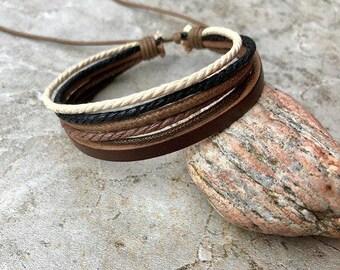 Mens Bracelet Gift Under 10 Men's Leather Bracelet  Boyfriend Gift For Him Graduation Gift, JLA-73
