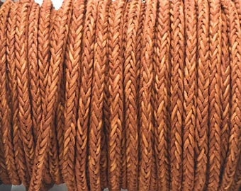 4mm 8 Ply Braided Bolo Round Leather Cord Vintage Cognac Color 1 Yard LCBR7