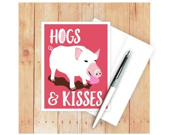 Hogs and Kisses, Funny Anniversary Card, Love Cards, Valentine Card, Pigs, Swine, Pig Card, Farm Animal, Pig Lover, Romantic Card