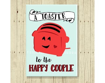 A Toaster for the Happy Couple, Funny Magent, Fridge Magnet, Cute Fridge Magnet, Gift Under 10, Small Gift, Wedding Magnet, Anniversary Gift