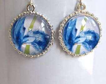 Blue Siberian Iris Flower Floral Earrings Silver Finish Pierced Ear Dangle Earrings