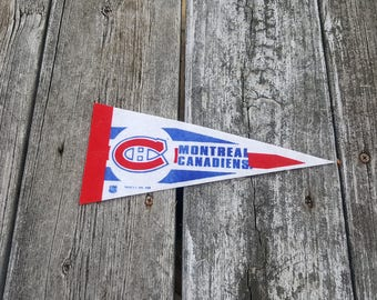 Vintage Montréal Canadiens Hockey Pennant - 1990s NHL - Man Cave - Sports Decor Collectible