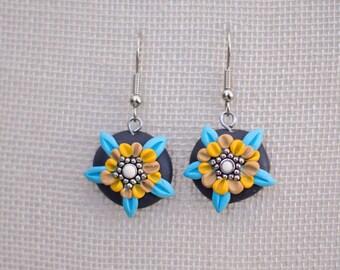 Polymer clay earrings, floral earrings, flower earrings, nature earrings,  boho style hippie, sphere, polymer clay flower