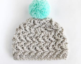 Girl's Winter Hat with Pom Pom - Slouchy Toddler Beanie - Women's Pom Pom Hat - Mommy and Me Winter Hat - Fall Accessories for Girls - Baby