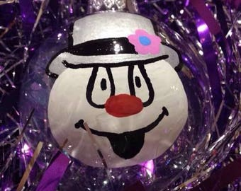 Frosty the Snowman Glass Ornament