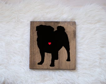 Hand Painted Pug Silhouette on Stained Wood, Dog Decor, Dog Painting, Gift for Dog People, New Puppy Gift, Housewarming Gift