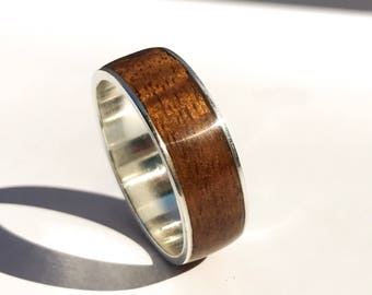 Mens Wedding Band Ring Wood Rustic
