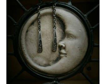 Kokopelli drop earrings. Silver earrings. Boho jewelry. Gypsy spirit.