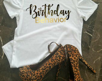 Birthday T-Shirt, Birthday Shirt For Women, Birthday Girl Shirt, 21st Birthday Shirt, Birthday Shirt, Birthday Girl, Black and Gold Shirt