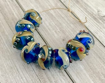 2+ Blue rustic lampwork beads Beads - Handmade Lampwork Glass Beads - Donut Beads -  Rondelles beads