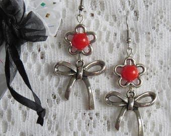 Silver buckle & flower Stud Earrings