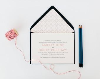 amelia rehearsal dinner invitation (sets of 10)  // classic custom pink navy geometric calligraphy romantic rehearsal dinner invite
