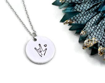 ASL I Love You Necklace | ASL Necklace | ASL Jewelry | American Sign Language Gift | Interpreter Gift | Aluminum Jewelry