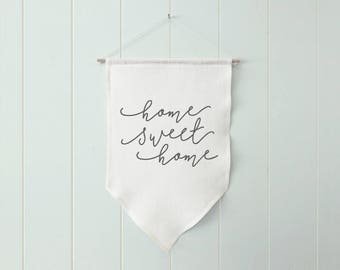 Home Sweet Home Wall Banner, New Home Gift, New House Gift, New Homeowners Housewarming Gift, Home Wall Flag, Home Linen Banner