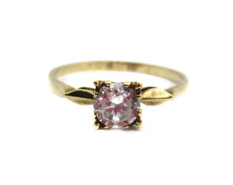 Vintage 1950's W.J. Harber Co. 10K Gold Cubic Zirconia Ring - Size 7 3/4