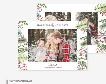 Digital Photoshop Christmas Card Template for photographers PSD Flat card - Christmas Card - PSD Template - 041