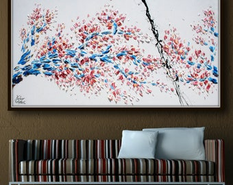 "Painting Sakura Tree, 72"" - Beautiful & Colorful Abstract Tree , Original Oil Painting By Koby Feldmos , Certification Attached"