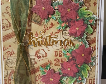 Large Handmade Christmas Poinsettia Card - Mum and Dad, Wife , Husband, Friends, etc