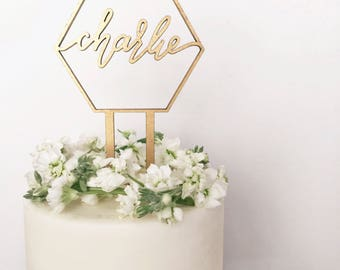 Custom Name Geometric Laser Cut Gold Modern Birthday Cake Topper - hand drawn and made of wood