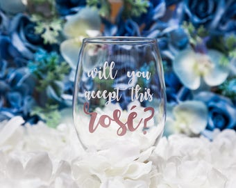 Will You Accept This Rose?, ABC Bachelor, Bachelor Monday, Bachelorette Monday, Bachelor in Paradise, Rose Ceremony, Stemless Wine Glass
