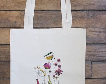 "Totebag ""Vases floral watercolor"" organic to wear on the shoulder"