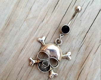 Skull Belly Button Ring, Skeleton Navel Ring, Belly Button Jewelry, Navel Piercing, Body Jewelry, Gothic Punk, 14g Curved Barbell.