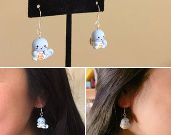 Polymer Clay Chibi Squirtle Earrings- free shipping for US!