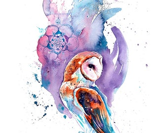 Barn Owl Print Purple & Silver - Print of barn owl watercolour painting as wall art