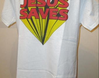 Jesus Saves Superhero Printed T Shirt - Retro Rock Music Drummer - New W135 Mens Womens Tee