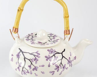 Teapot Set - Bamboo Handle - Purple Cherry Blossom Design - Hand Painted
