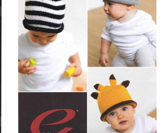Really nice original pattern for three unusual hats for babies / toddlers.  Zebra, Bunny and Giraffe hat.