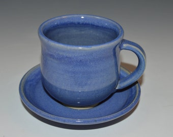 Espress cup with plate, blue espresso cup, 5 available and ready to ship
