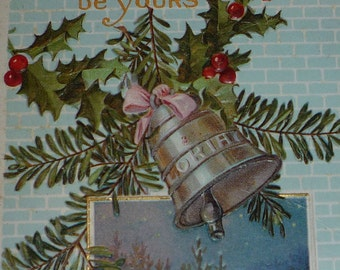 Christmas Bells With Pine and Holly Scenic Winter VignetteAntique Christmas Postcard