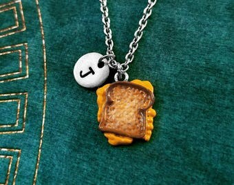 Grilled Cheese Necklace SMALL Grilled Cheese Sandwich Charm Necklace Hand Painted Pendant Necklace Sandwich Jewelry Food Necklace Initial