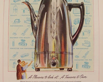 Universal COFFEEMATIC Coffee Pot Arnold Baer Artwork 1945 Print Ad Kitchen Art