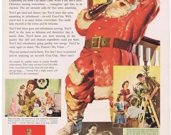 1942 Coca Cola Santa Claus That Extra Something Print Ad Families Christmas Tree Dolls Grandfather Clock
