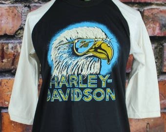 Harley Davidson Vintage 1980s Baseball T-Shirt