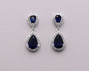 Sapphire Bridal Earrings, Bridal earring jewelry, cubic zirconia earrings , Blue Earrings, bridal jewelry, Kensley Sapphire Earrings