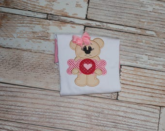 Toddler Valentine's Day Shirt with Teddy Bear and XOXO Hearts