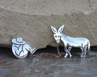 Maricela ~ Isidro Garcia Pina - Vintage Taxco Sterling Silver Hombre Taking a Sietsa and Burro Pins / Brooches c. 1940's