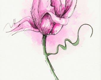Original Watercolor Tulip Flower Art Painting Pink Pen and Ink Watercolor Hand Painted Flower