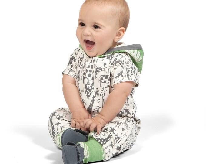 Baby Boy Hoodie Romper, Baby Hoodie Onesie, Baby Boy Hoodie, Newborn Baby Hooded Romper, Baby Short Sleeve Romper, Giraffe Tesa Babe