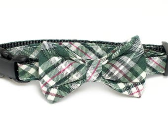 Green Plaid Dog Collar Bow Tie set, wedding set, st patricks day