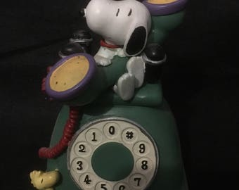 Snoopy Woodstock Telephone Bank Rotaty Phone Bank Hand Painted Resin Bank Peanuts Collectable